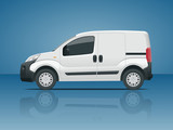 Small Van Car. Isolated car, template for car branding and advertising. Side view. Change the color in one click. All elements in groups on separate layers. - 175510178