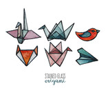 A set of stained glass origami pieces painted in watercolor. Cranes, paper airplane, a fox and a bird. - 175513149
