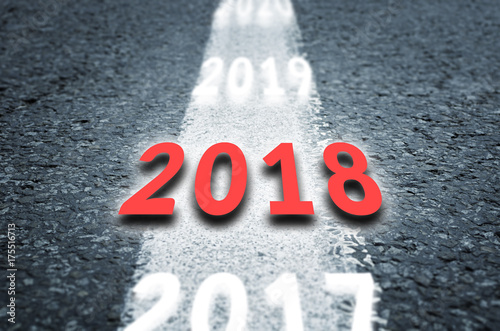 Poster New 2018 Year Concept. 2018 New Year Road.