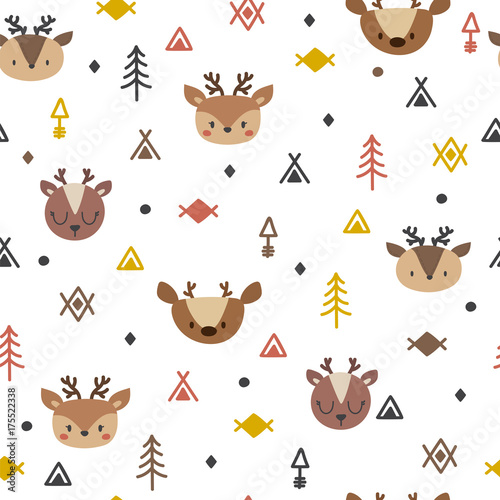 Tribal seamless pattern with cartoon deers. Abstract geometric art print. Hand drawn ethnic background with cute animals