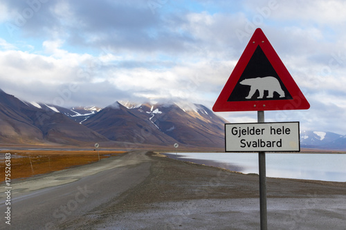 Canvas Ijsbeer Polar bear warning sign in Svalbard
