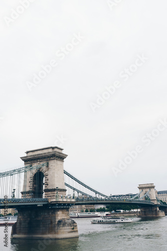 Deurstickers Boedapest Chain bridge on Danube river in Budapest city Hungary