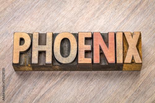 Foto op Canvas Arizona Phoenix word abstract in letterpress wood type