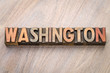 Washington  word abstract in letterpress wood type