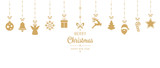 Fototapety christmas golden ornament elements hanging isolated background