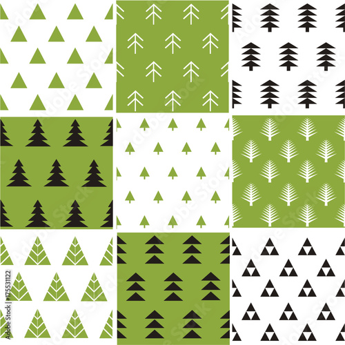 Fridge magnet Seamless pattern with Christmas trees