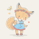 Cute little red fox in blue dress cartoon hand drawn vector illustration. Can be used for baby t-shirt print, fashion print design, kids wear, shower celebration greeting and invitation card. - 175531593