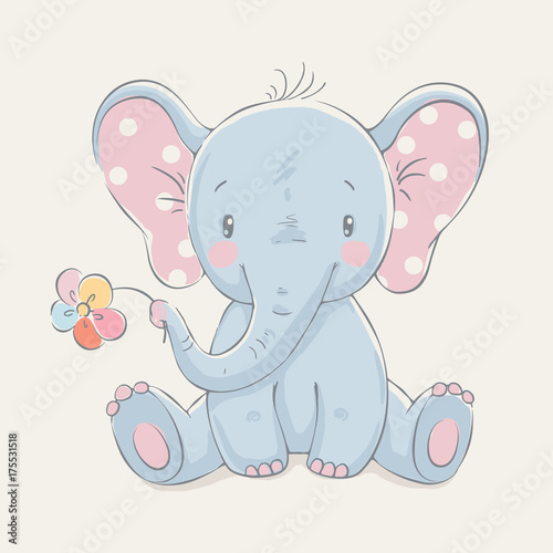 Cute elephant with a flower cartoon hand drawn vector illustration. Can be used for baby t-shirt print, fashion print design, kids wear, baby shower celebration greeting and invitation card. - 175531518