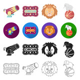 number, circus, entertainment and other web icon in different style.animal, ball, elephant icons in set collection. - 175540577