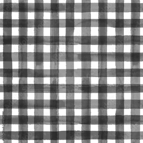 Gray gingham plaid seamless pattern - 175545144