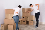 Couple Have Backpain While Moving The Boxes - 175553986