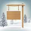 christmas hang wood board sign in snow forest - 175556513