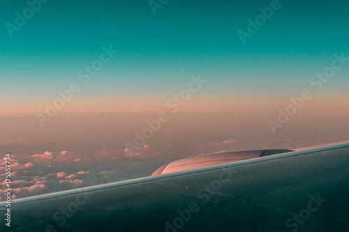 sunrise through airplane window