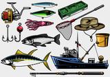 fishing equipment in set - 175563139