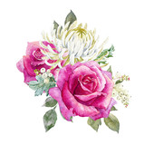 Watercolor roses composition - 175565517