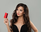 Cute Young Woman Holding Credit Card - 175566542
