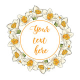 Floral Greeting Card with Blooming garden flowers. Wreath of flowers with white background.  Hand drawn vector illustration. - 175567303