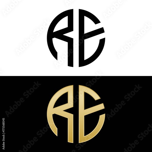 re initial logo circle shape vector black and gold
