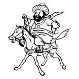 sg171006-Cartoon Fat man riding horse-Vector drawn