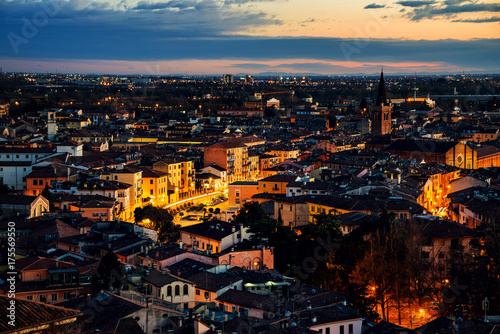 Poster Aerial view of famous touristic city Verona in Italy at sunset