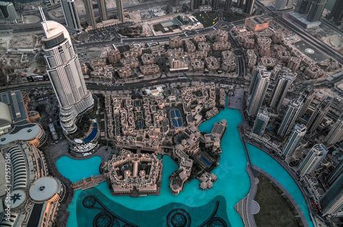 Staande foto Dubai Panorama sunset view to Dubai skyscrapers in UAE