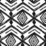 Black tribal Navajo vector seamless pattern with doodle elements. aztec abstract geometric art print. ethnic hipster backdrop. Wallpaper, cloth design, fabric, paper, textile. Hand drawn - 175571980