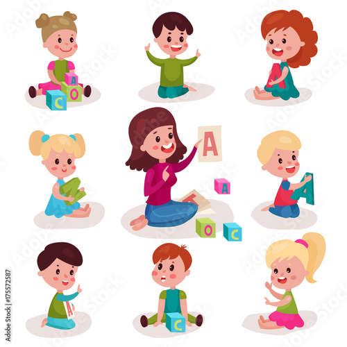 Staande foto Kinderkamer Cute little boys and girls learning letters with their teacher set, kids learning through fun and play colorful cartoon vector Illustrations