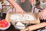 Fingers paint on flour - 175575327