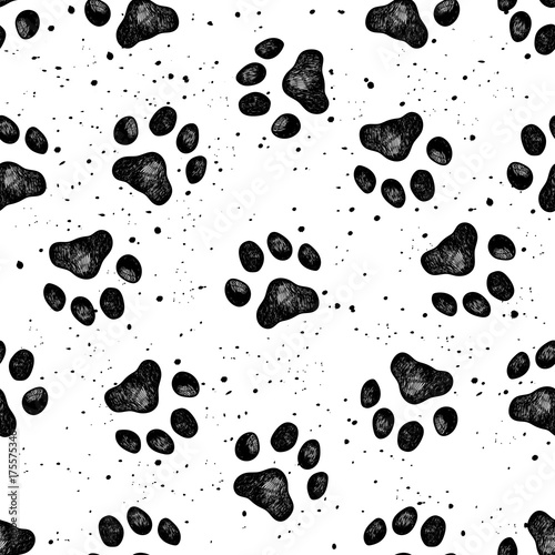 obraz PCV Paw of dog print vector Vexture