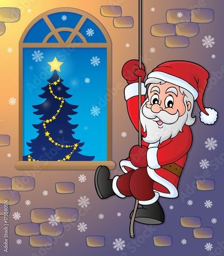 Deurstickers Voor kinderen Climbing Santa Claus theme image 2