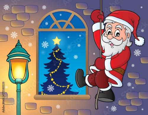 Deurstickers Voor kinderen Climbing Santa Claus theme image 3