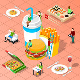 Fast Food Isometric Composition - 175583186