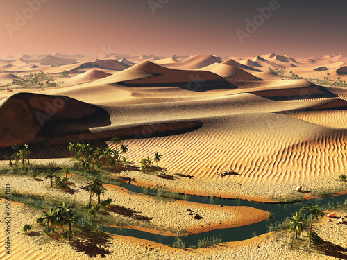 Papiers peints Marron chocolat worldwide temperature change idea. solitary sand dunes under spectacular evening sunset sky at drought desert landscape 3d rendering