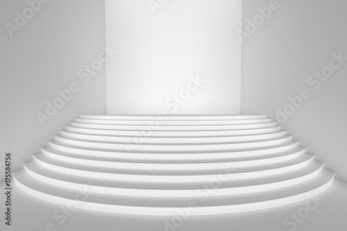 White Round Stairs In Empty White Room Wide Angle, Front Light