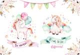 Isolated cute watercolor unicorn clipart. Nursery unicorns illustration. Princess rainbow unicorns poster. Trendy pink cartoon horse. - 175586960