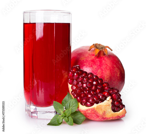 Staande foto Sap Pomegranate juice on white background