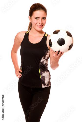 Aluminium Voetbal Sportliche junge Frau mit Fussball