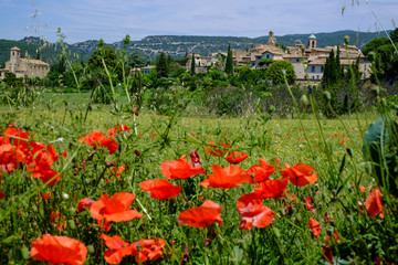 Vue sur le village de Lourmarin en Provence, France. Champ de blé et des coquelicots au premier plan.