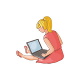 vector flat teen girl sitting at floor surfing the net, playing games, watching videos using laptop. Isolated illustration on a white background. Teenagers and modern digital visual technology concept - 175591545