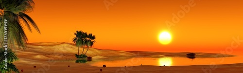 Staande foto Oranje eclat oasis in the sandy desert, sunset over the sands with palm trees and a lake