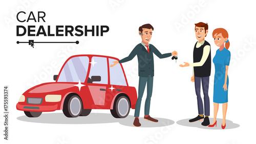 Fotobehang Auto Car Dealer Vector. Car Dealership Agent. Auto Selling Concept. Isolated Flat Cartoon Character Illustration