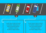 Illustration of cars in the parking lot. Place for any text. Flat vector. - 175593796