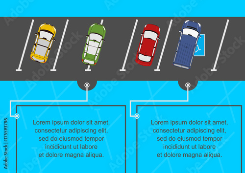 Poster Illustration of cars in the parking lot. Place for any text. Flat vector.