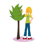 Teen Cute girl Character Mascott Illustration - 175594586