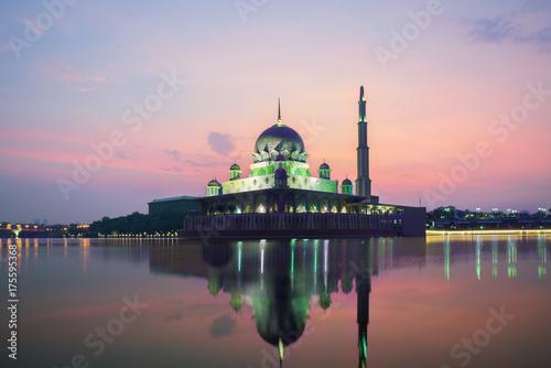Putrajaya mosque between sunsire in Kuala Lumpur, Malaysia Poster
