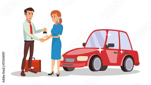 Plexiglas Auto Car Dealer Salesperson Vector. Choosing New Machine Concept. Seller Man. Cartoon Business Character Illustration