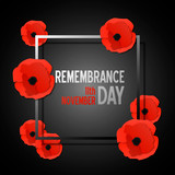 Remembrance day paper cut banner with poppy flowers and frame. Vector illustration template in 3d paper style.