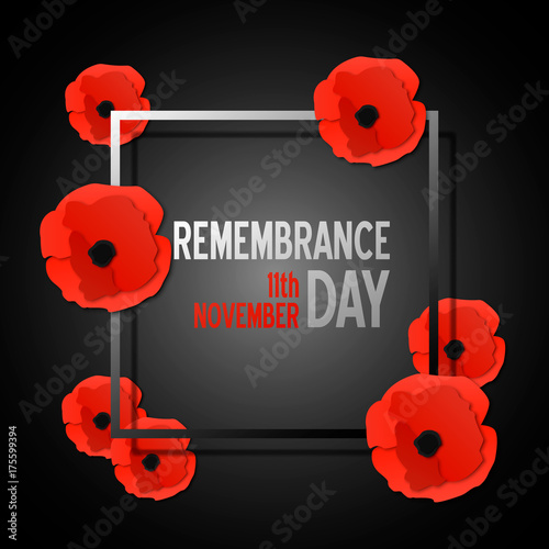 Remembrance day paper cut banner with poppy flowers and frame. Vector illustration template in 3d paper style. - 175599394