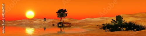 Aluminium Oranje eclat oasis in the sandy desert, sunset over the sands with palm trees and a lake