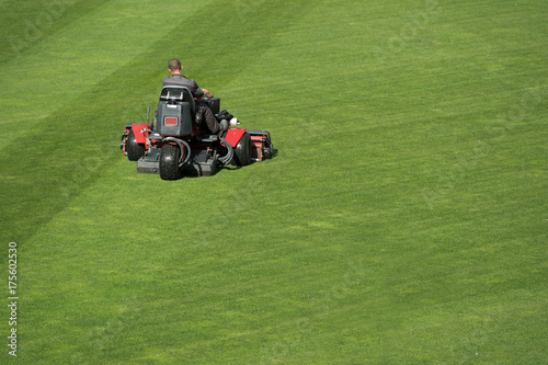 Mowing grass at the football stadium Poster